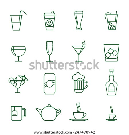Drinks thin line vector icon set - stock vector