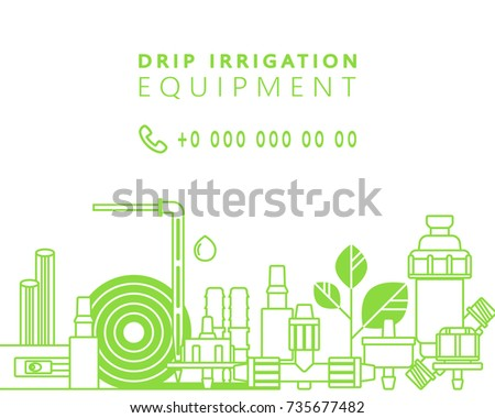 Drip irrigation. Vector background with line icons of equipment for irrigation system in the garden area.