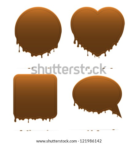 Dripping chocolate shapes. Vector illustration.