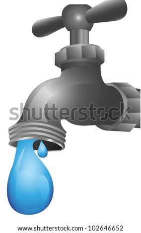 dripping tap illustration isolated on white background, vector illustration