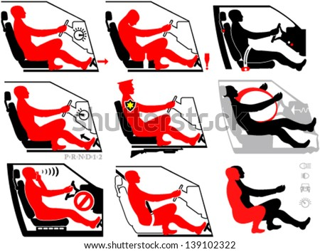 Driver and passenger in set of clip-arts - stock vector