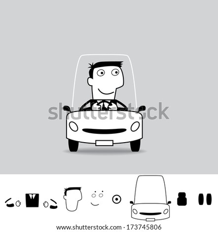 Driver. Business cartoon illustration (EPS 8). Animation friendly: the elements ( arms, heads etc) are in the separate layers. - stock vector