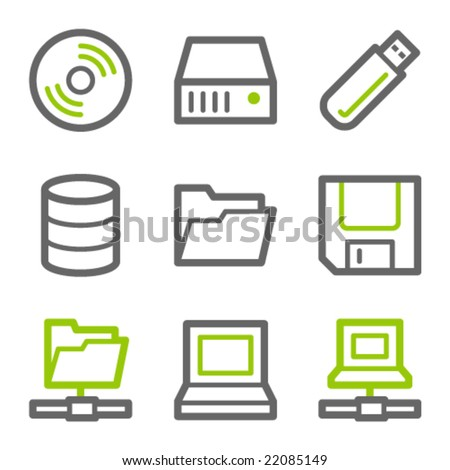 Drives and storage web icons, green and gray contour series - stock vector