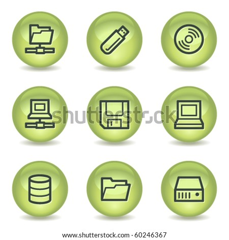 Drives and storage web icons, green glossy circle buttons - stock vector