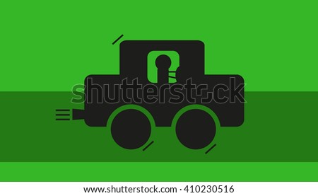 Driving along the green path by car - stock vector