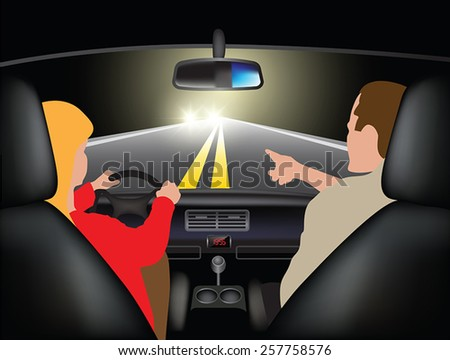 Driving course at night - young woman driving car with instructor. Vector illustration - stock vector