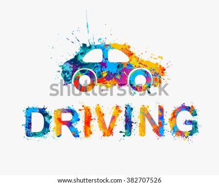 Driving school logo. Car of rainbow splash paint - stock vector