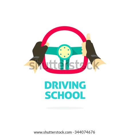 Driving school symbol logo template, hands holding steering wheel, thumb up, trip concept, guide, equipment, rudder, extreme driving, training, flat style, modern design vector illustration isolated - stock vector
