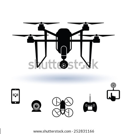 Drone icon set, Vector.  - stock vector