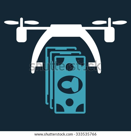 Drone Payment vector icon. Style is bicolor flat symbol, blue and white colors, rounded angles, dark blue background. - stock vector