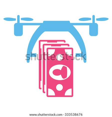 Drone Payment vector icon. Style is bicolor flat symbol, pink and blue colors, rounded angles, white background. - stock vector