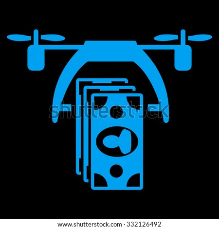 Drone Payment vector icon. Style is flat symbol, blue color, rounded angles, black background. - stock vector