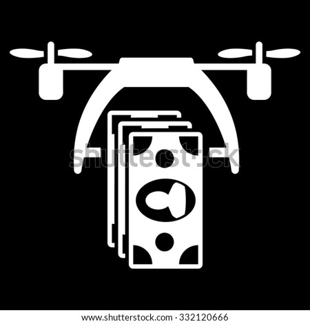 Drone Payment vector icon. Style is flat symbol, white color, rounded angles, black background. - stock vector