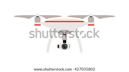 Drone quadrocopters icons and emblems isolated on white. Vector illustration drone helicopter toy packing design. Flight controlled security quadrocopters drone helicopter toy. - stock vector