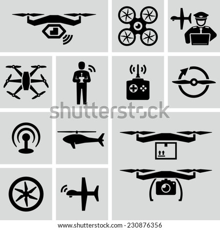 Drone Vector Icons  - stock vector
