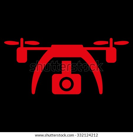 Drone Video Camera Vector Icon Style Is Flat Symbol Red Color Rounded Angles