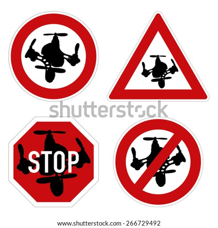 Drone warning sign. Vector set of different warning and forbidden signs with drone quadcopter. - stock vector