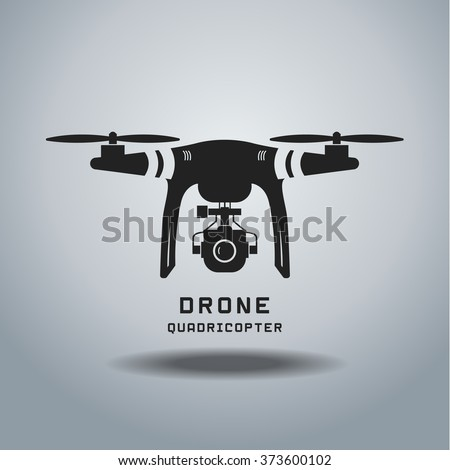 Drone With Action Camera Logo Icon Black And White EPSvector