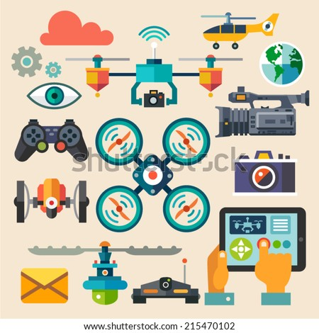 Drones for photo and video. New technologies. Vector flat icon set and illustrations - stock vector