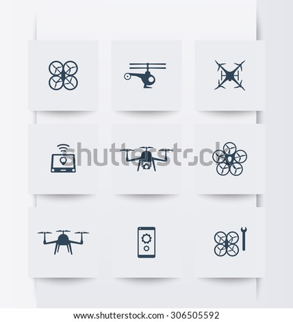 Drones, Quadrocopter, Copters square modern icons, vector illustration, eps10, easy to edit - stock vector