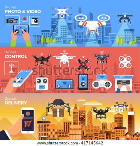 Drones vector set. Flat design element drone and controller connecting. Illustrate - stock vector