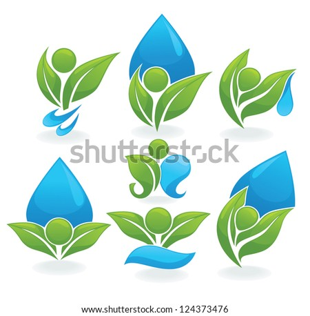 drop and leaves vector collection of ecological signs, symbols and icons - stock vector