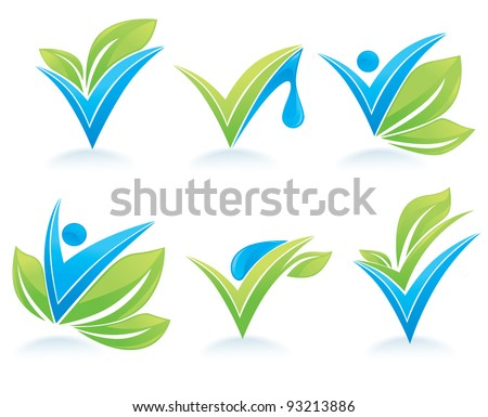 drop and leaves vector collection of signs and marks - stock vector