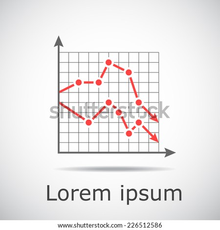Drop chart with two graphs on grid and gradient background, 2d illustration, vector, eps 10 - stock vector