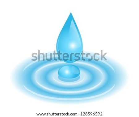 drop falls into the tent. On the surface there are circles. - stock vector