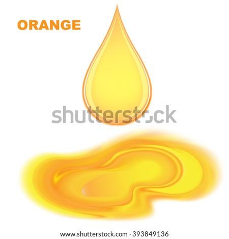 Drop of orange juice - stock vector