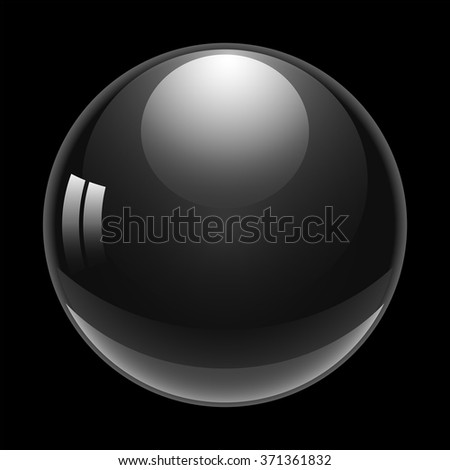 Drop of water with glare and reflection on black background, stylish vector illustration - stock vector