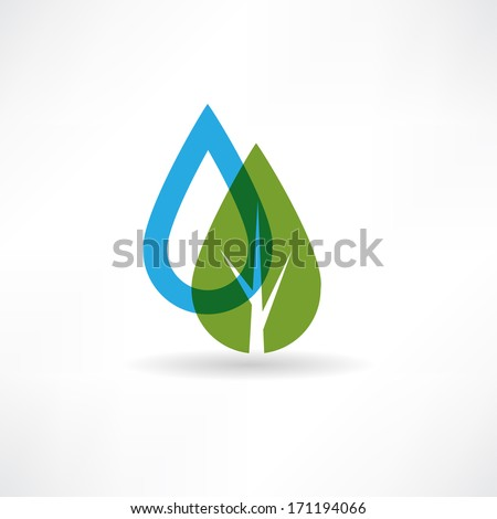 drop on eco tree abstraction icon - stock vector