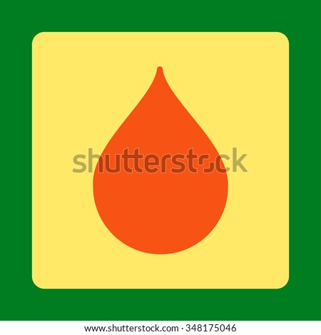Drop vector icon. Style is flat rounded square button, orange and yellow colors, green background. - stock vector