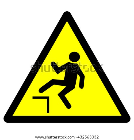 Drop warning sign , falling of the edge yellow triangle warning sign , vector illustration