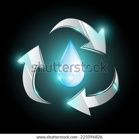 Droplet within recycle arrows EPS 10 - stock vector
