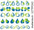 Drops and leaves. Elements for design. Vector illustration. - stock photo