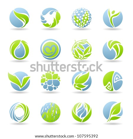 Drops and leaves. Vector elements for design. - stock vector