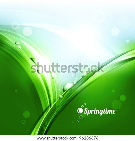 Drops of dew on the grass in the sunlight. Vector - stock vector