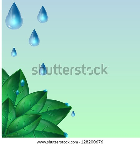 drops  of water flowing down from green leaves - stock vector