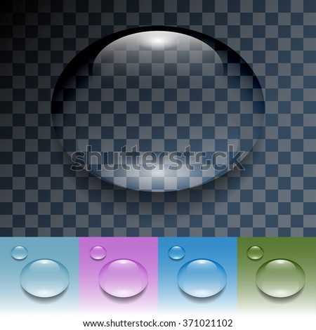 Drops of Water on a Transparent Background. Illustration, vector eps 10.