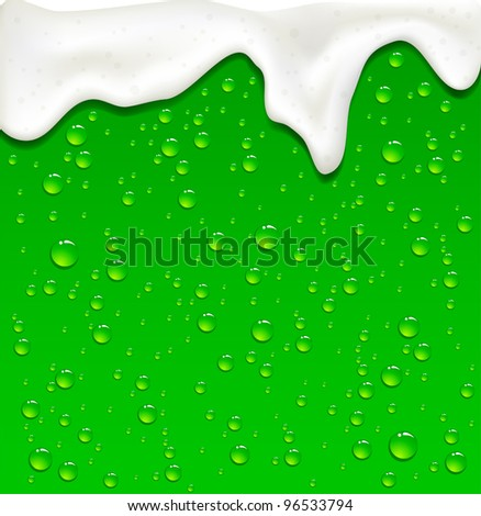 Drops on Green Beer background, illustration - stock vector