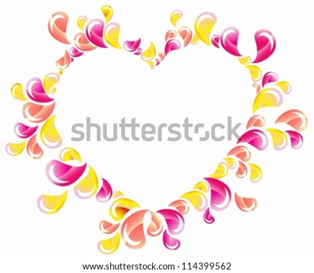 Drops splashing heart, Abstract background, Valentine frame, vector