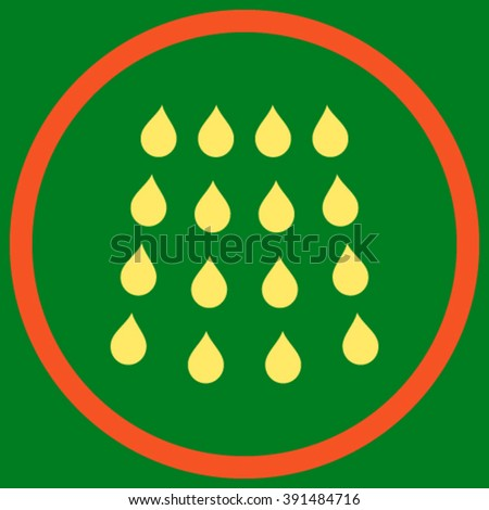 Drops vector icon. Style is bicolor flat rounded iconic symbol, drops icon is drawn with orange and yellow colors on a green background. - stock vector