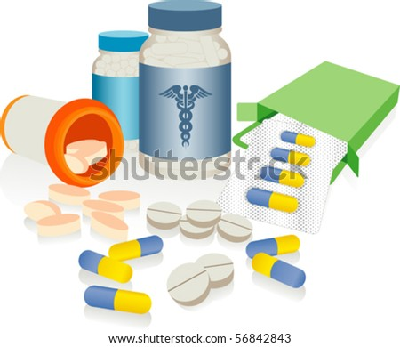 Drug Abuse - An assortment of prescription medicines isolated against a white background. - stock vector