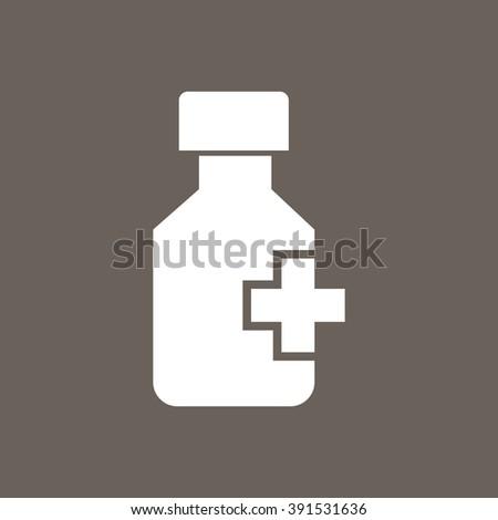 Drug Bottle Icon on Dark Gray Color. Eps-10. - stock vector