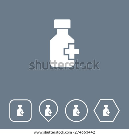 Drug Bottle Icon on Flat UI Colors with Different Shapes. Eps-10. - stock vector