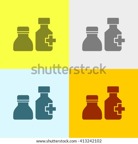 Drug Bottle Icon on Four Different Backgrounds. Eps-10. - stock vector