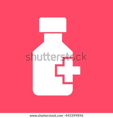 Drug Bottle  white icon on magenta color background. Eps-10. - stock vector