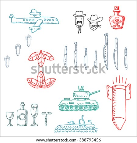 Drug gangster crime syndicate and war symbol  icons set, in sketch drawing style, for anti-terrorist force design - stock vector