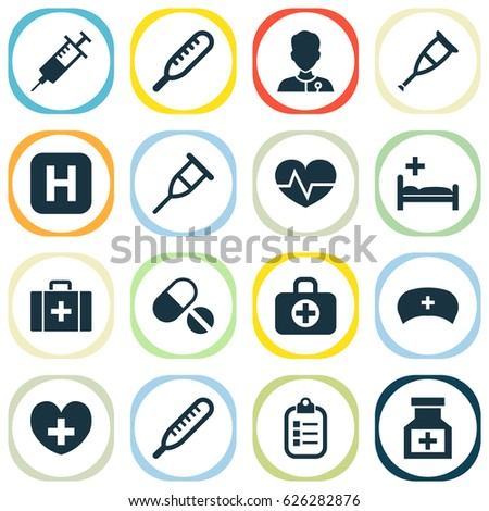 Healthy Icons Over White Background Vector Stock Vector 157900655